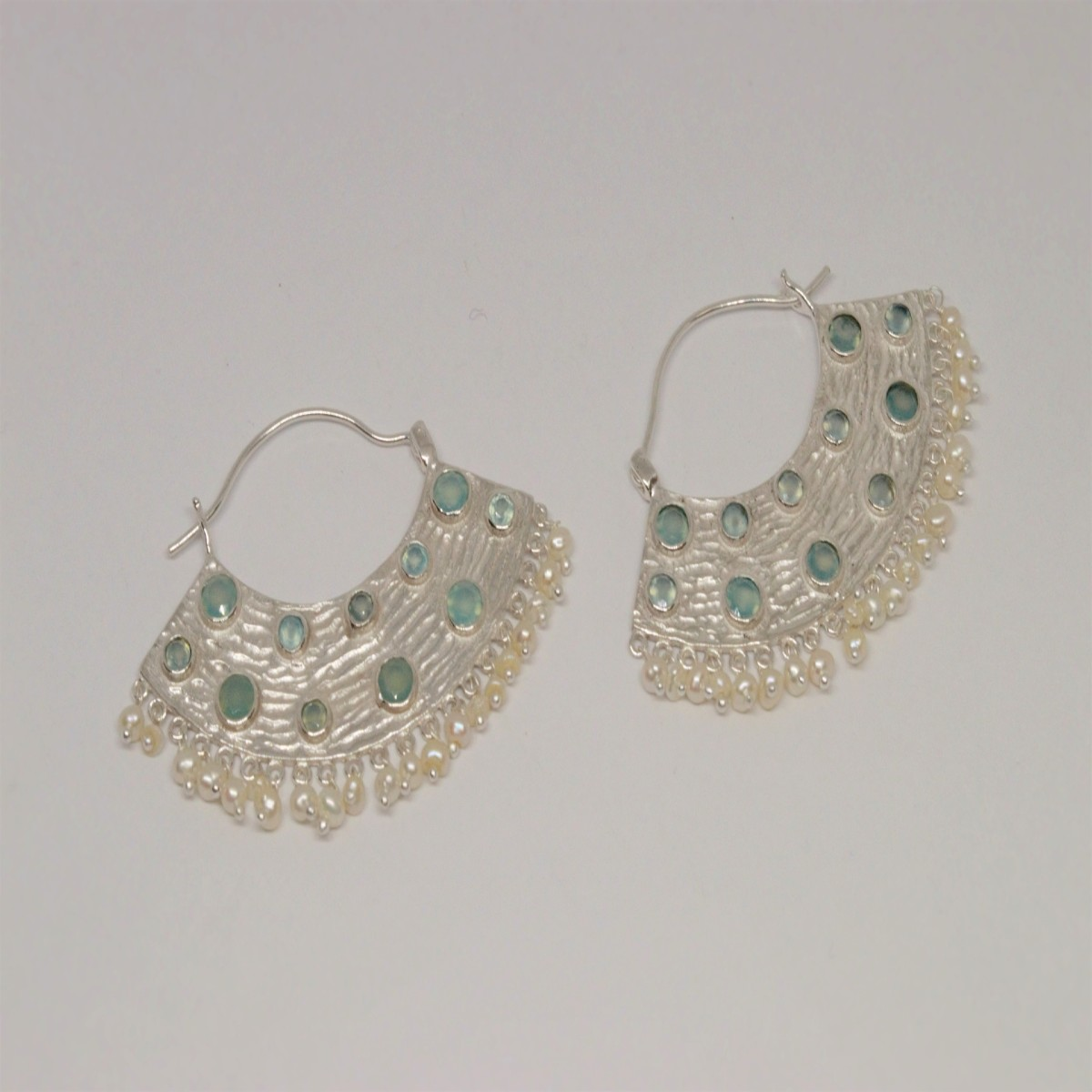 earrings Aqua chalcedony and pearl (2 gold, 1 silver)