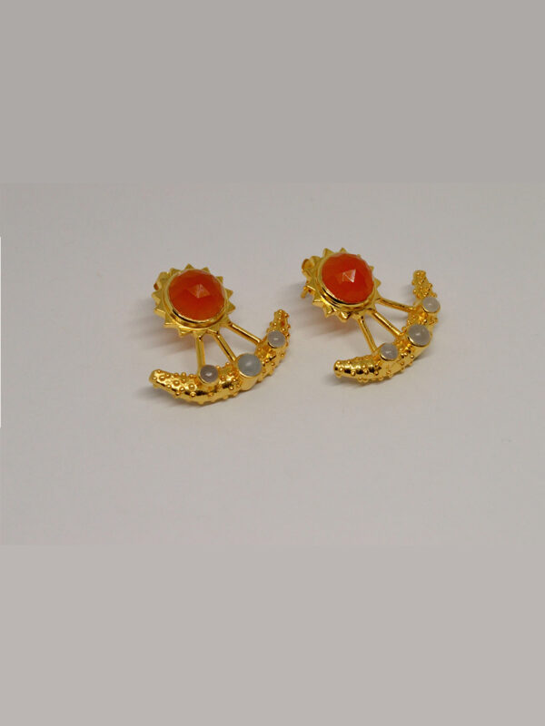 Earrings Carnelian And Aquamarine