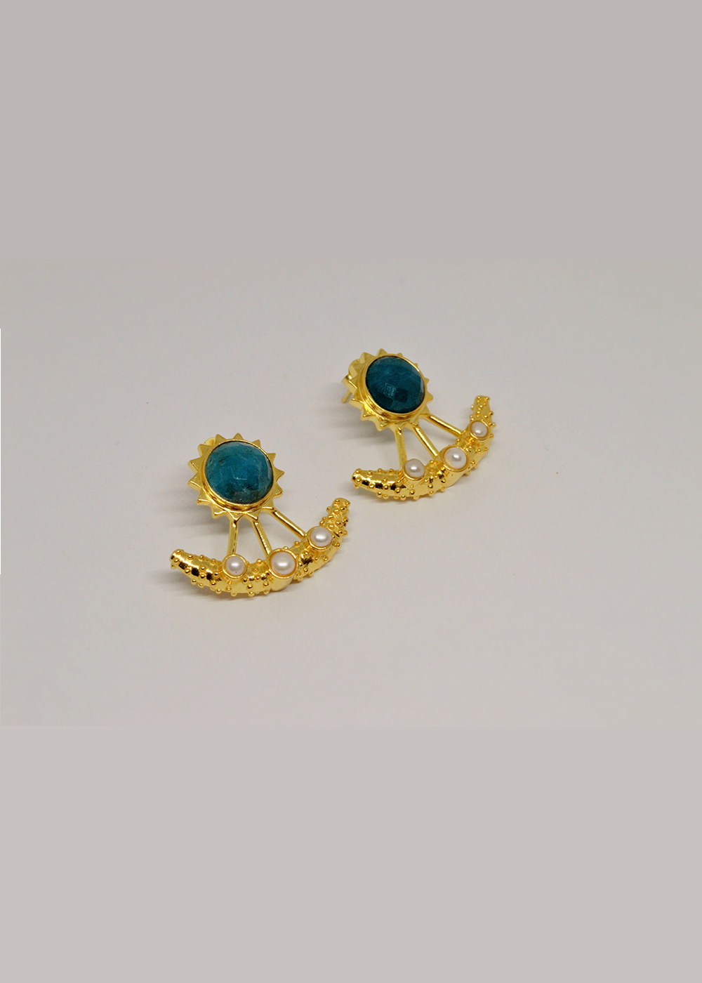 Earrings Apatite And Pearl