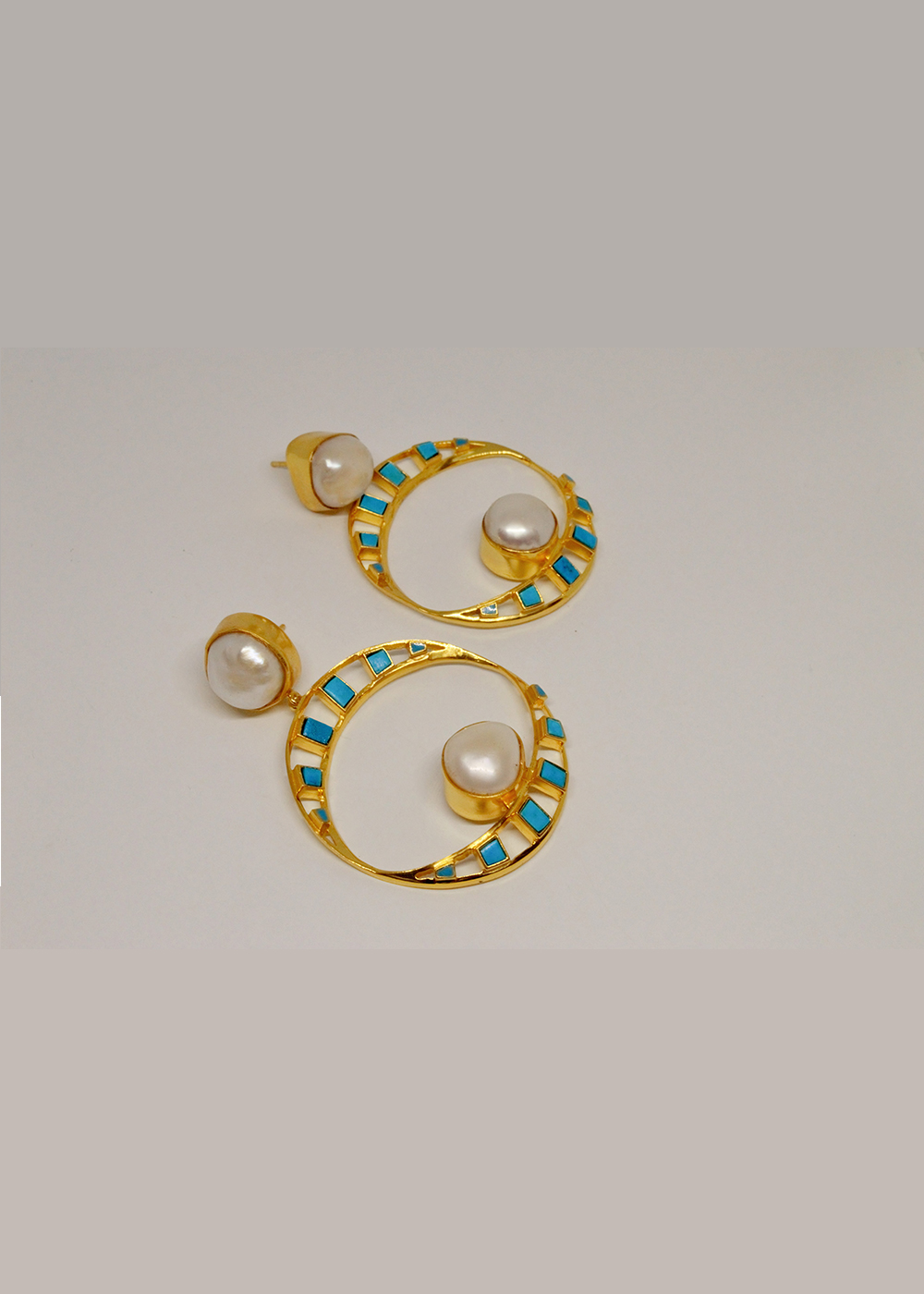 Earrings Pearls And Turquoise