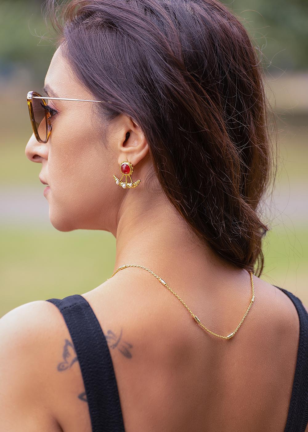 Earrings Carnelian And Pearl