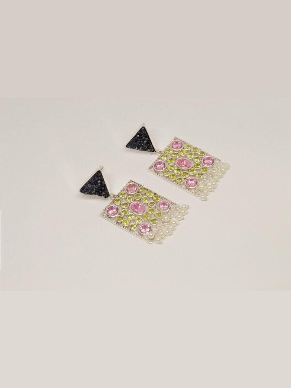 earrings grey druzy, pink cz, peridot