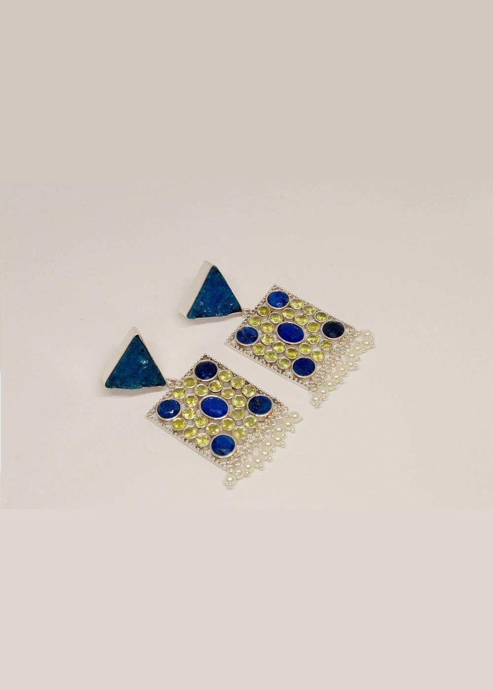 Jantar Earrings Blue Druzy, Lapis, Peridot