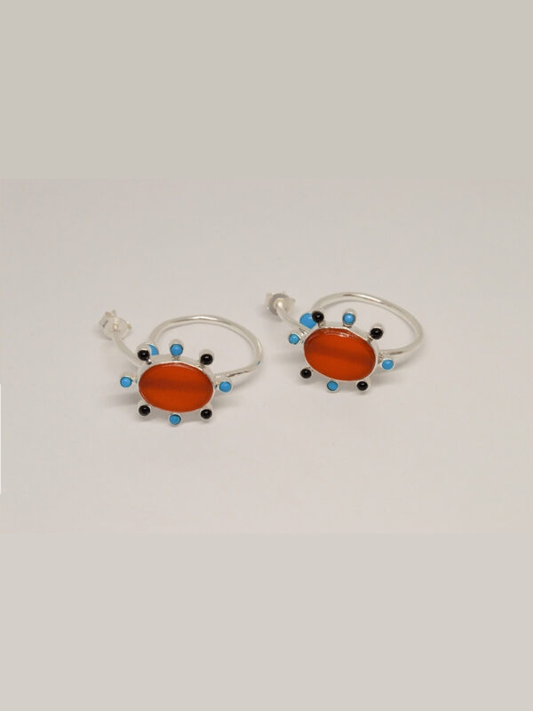 Earrings Carnelian And Turquoise