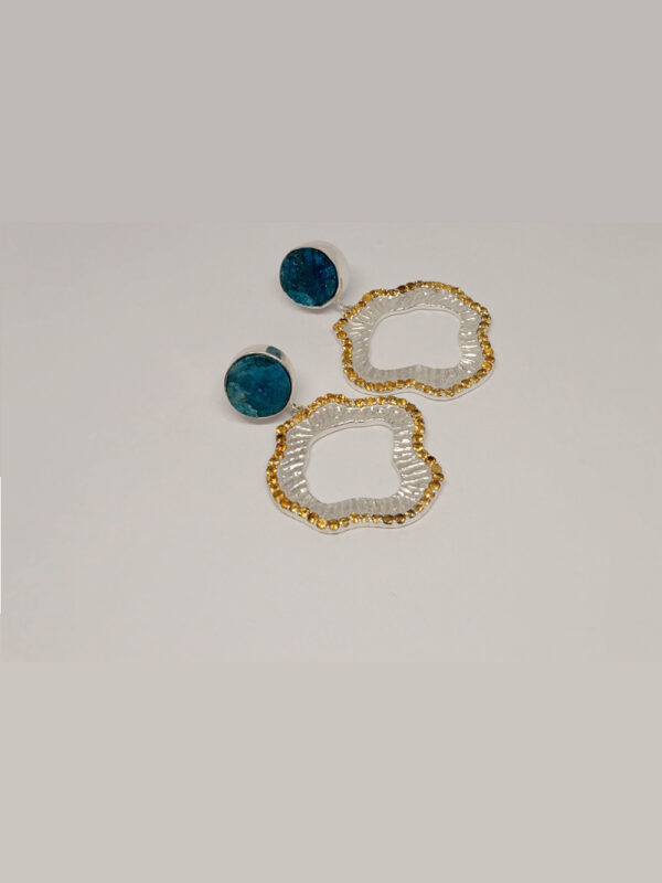 Earrings Rough Apatite And Citrine