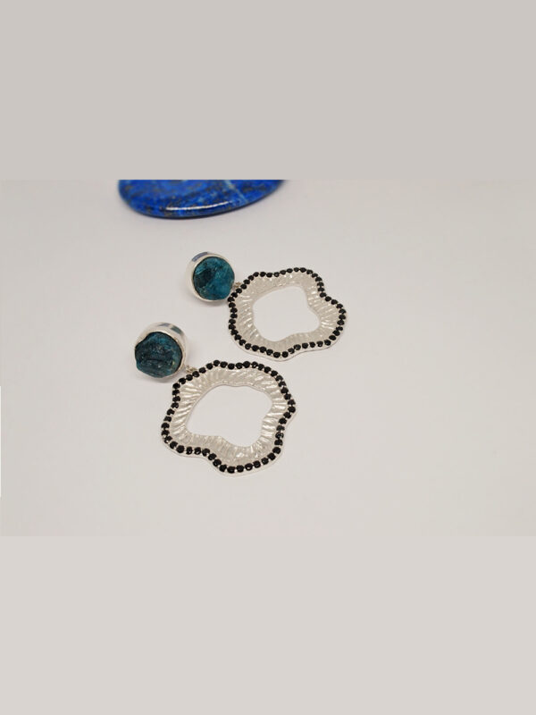 earrings rough apatite and onyx
