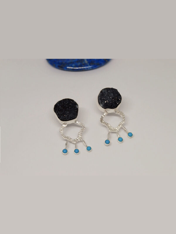 earrings grey druzy and turquoise