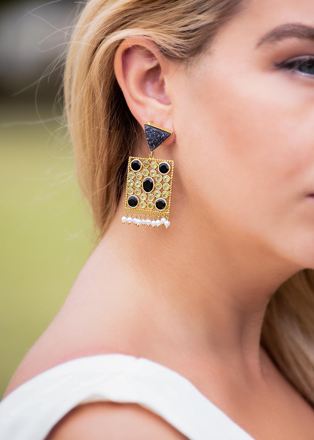 earrings grey druzy, onyx, peridot
