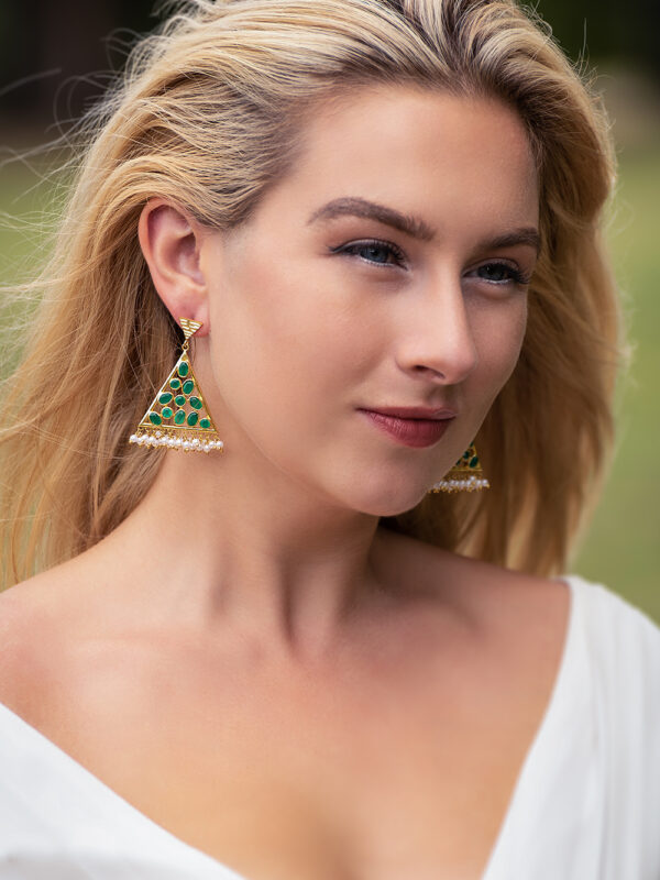 earrings green onyx and pearl